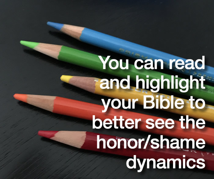 Colored pencils to see honor and shame in the Bible