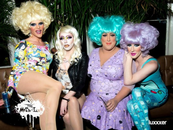 Meth with DWV (from left to right: Willam Belli, Meth, Vicki Vox, Detox Icunt) at the Meth Lab show that was featured on Drag Queens of London (Photo by Luxxxer)