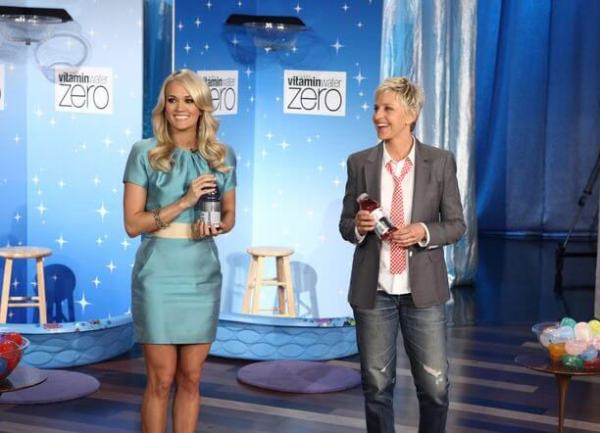 Carrie Underwood wearing NIKOLAKI during an appearance on the Ellen Show.
