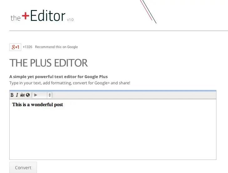 the plus editor