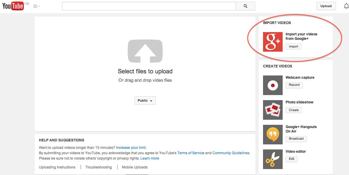 import videos from google plus on youtube wersm