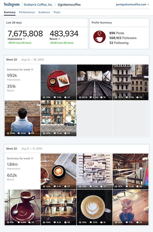 Instagram Account Insights Dashboard wersm
