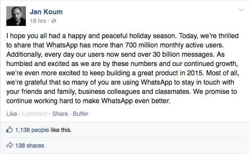 wersm jan koum whatsapp ceo cofounder 7 jan 2015