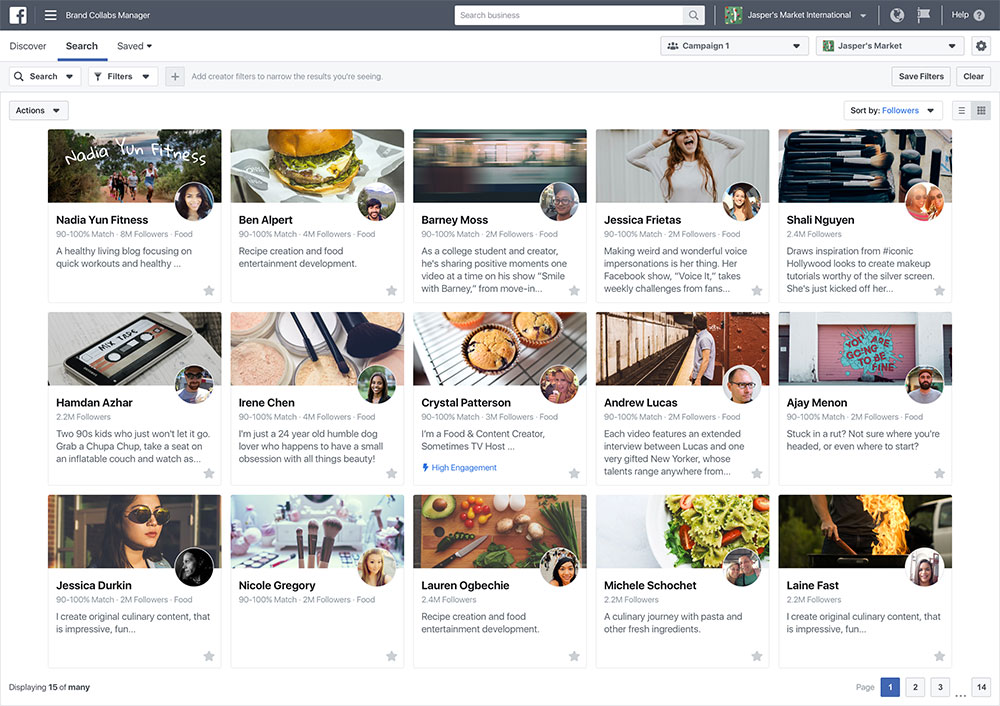Facebook's Brand Collabs Search Engine Is Here • Facebook
