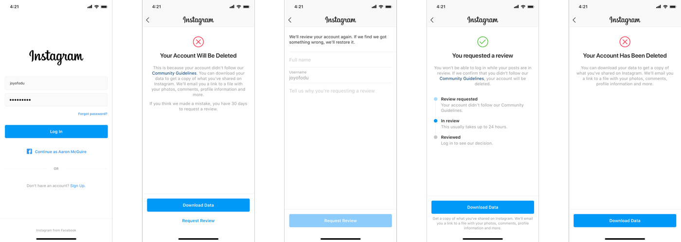 instagram disabled account