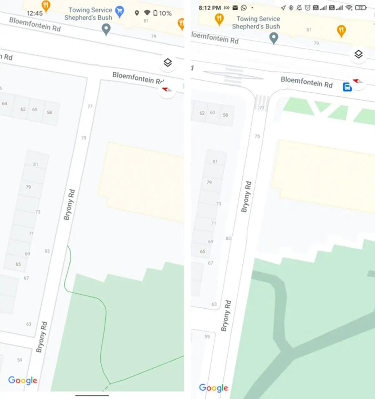 google maps new street details