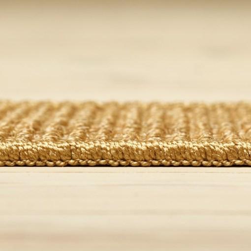 gyldent berber sisal løst tæppe med kant fra siden