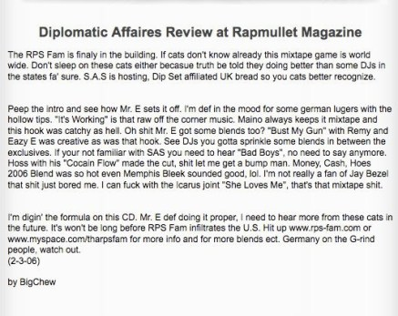 Mr. E Diplomatic Affairs Review at Rapmullet Magazine