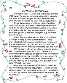 My Week at WES Camp