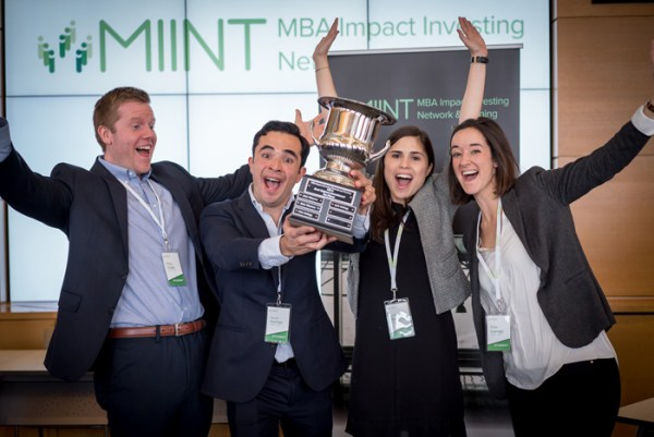 The winning team from MIT Sloan. Pictured from left to right are Riley Chubb, TK, Limor Bordoley & Pilar Carvajo Lucena. Courtesy photo