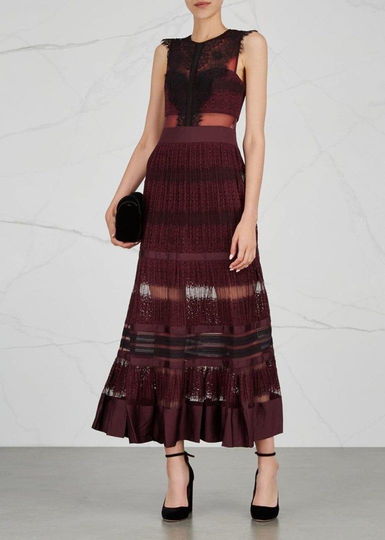 THREE FLOOR Essence Lace Maxi Burgundy Dress  We Select Dresses
