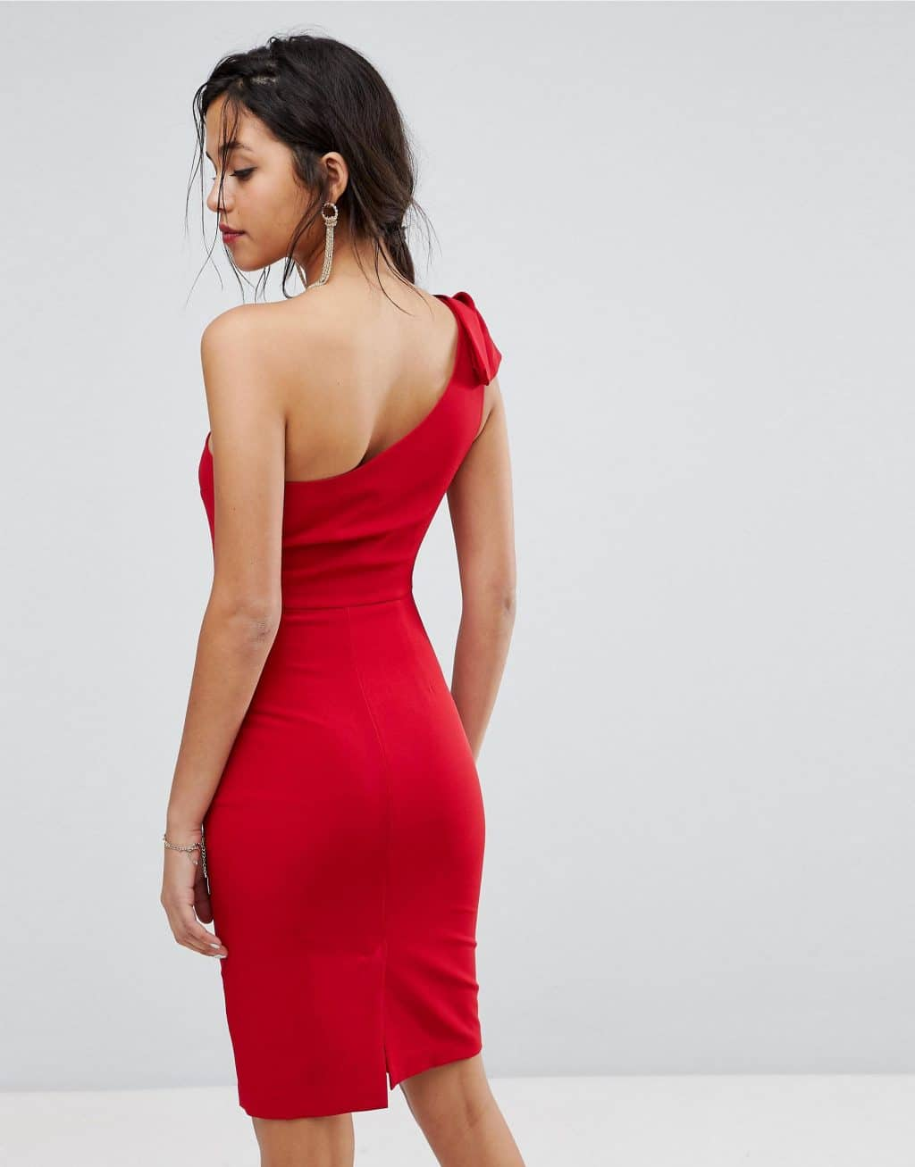 Oasis One Shoulder Mini Mid Red Dress