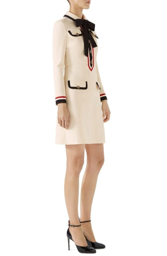 GUCCI Bow Neck Piped Jersey Almond Flower Black Dress