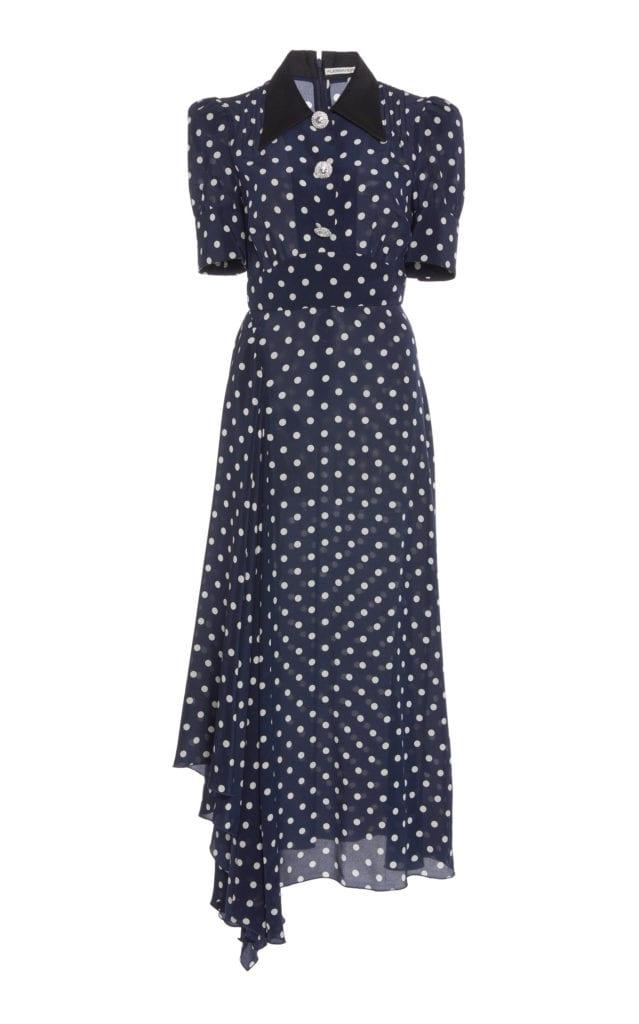 ALESSANDRA RICH PolkaDot SilkChiffon Midi Navy Dress  We Select Dresses