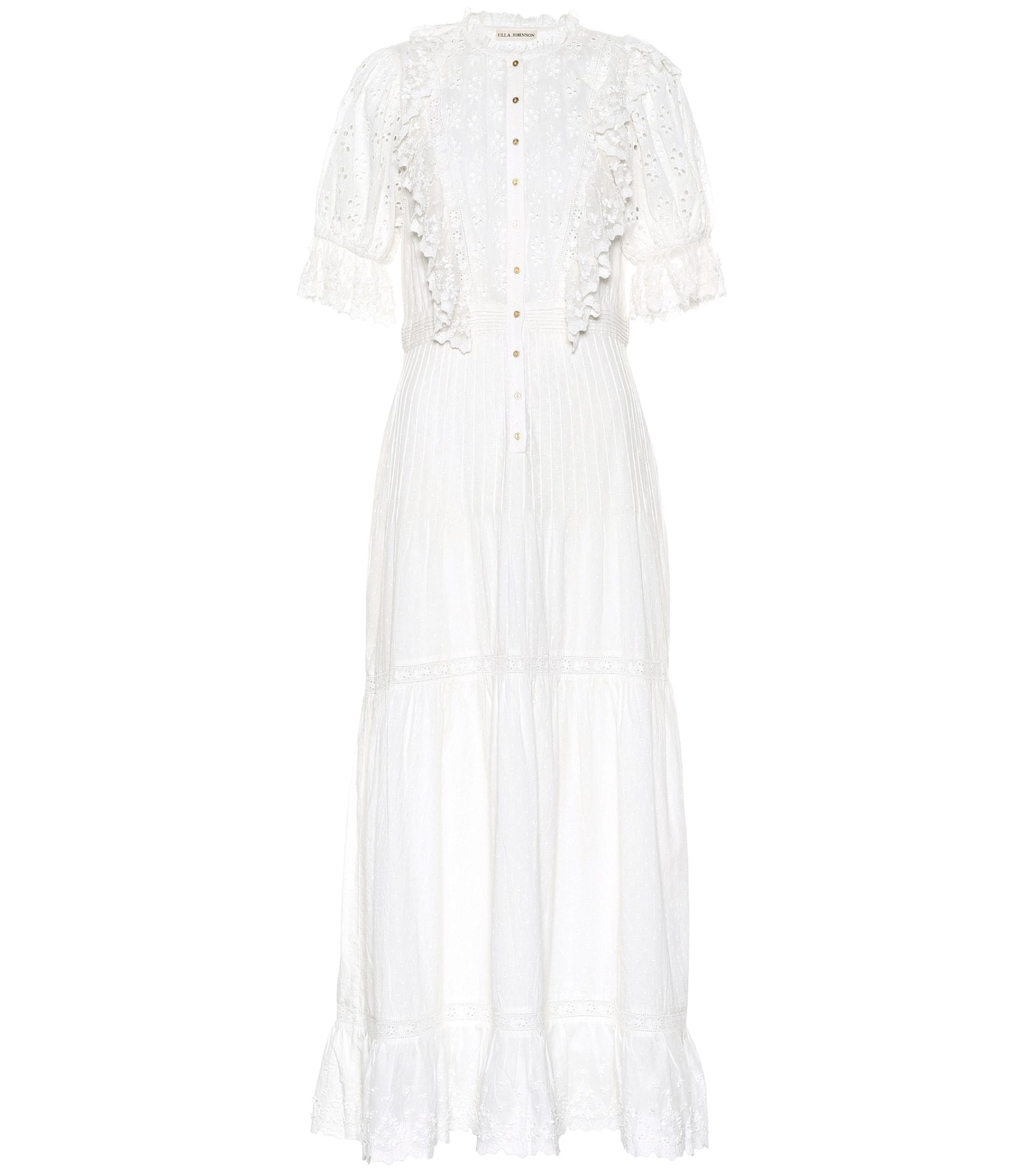 ULLA JOHNSON Halley Cotton & Broderie Anglaise White Dress