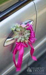 dekoracja ślubna samochodu - klamki