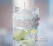 Świecznik na stół - brokat,płatek śniegu