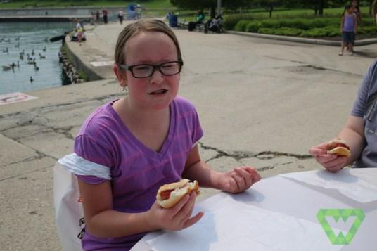 Enjoying a Chicago Hot Dog