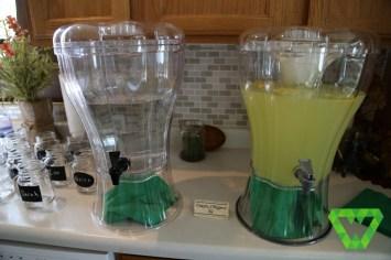 Farmer Maggot's Ale (lemonade) and water.