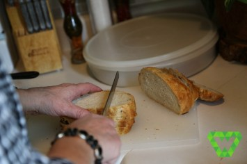 Cutting up the homemade bread loaf (Lembas Bread).
