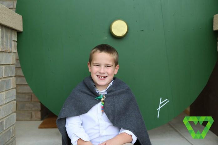 Parker and the Hobbit door.
