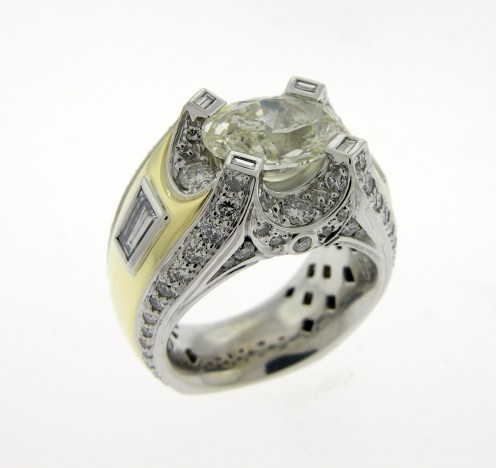 Top view '18 kt White & yellow gold 6 ct. Diamond Ring (Christopher Cordova)