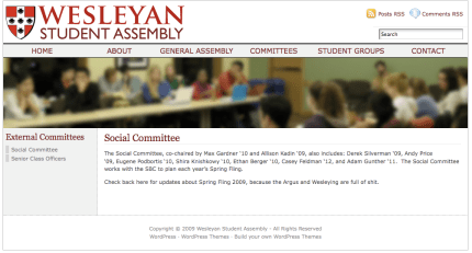 Screenshot - WSA Site - Social Committee
