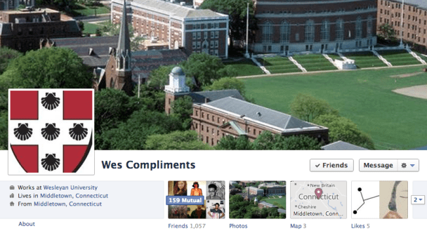 Wes Compliments: The Feel-Good Facebook Profile of the Year | Wesleying
