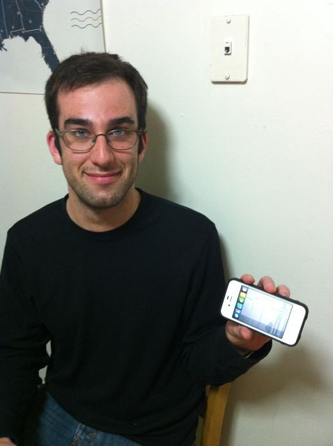 Zack Sulsky '13 showing off his new collaborative music-making app, Sketch-a-Song.