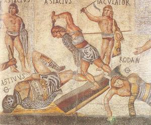 Retiarius_vs_secutor_from_Borghese_mosaic