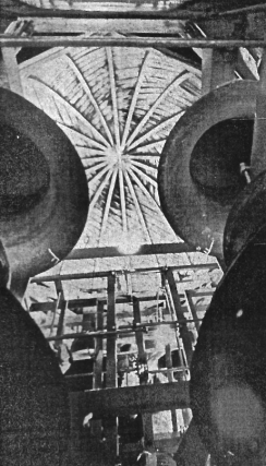Akright working in the bell tower, from the November 29, 1966 Argus