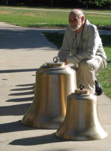 Professor Peter Frenzel with some of the new bells before their installation in 2005 (from the Wes bell history page)