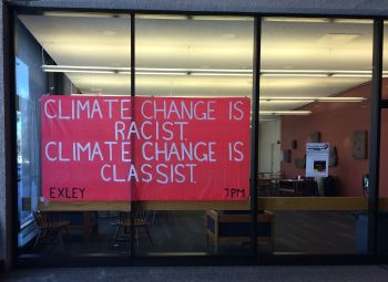 """Climate change is racist. Climate Change is classist."" photo from Genna Mastellone '17"