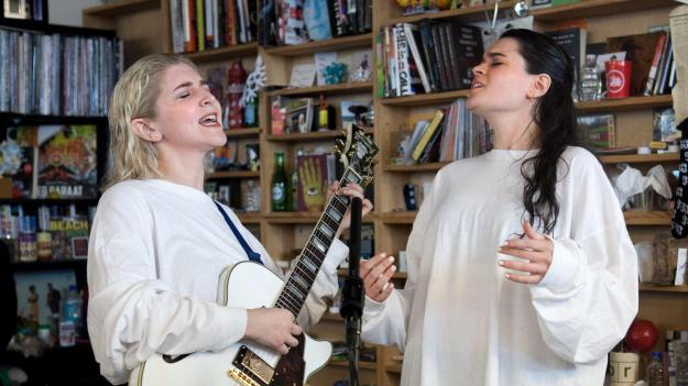 Overcoats perform a Tiny Desk Concert on March 1, 2017. (Marian Carrasquero/NPR)