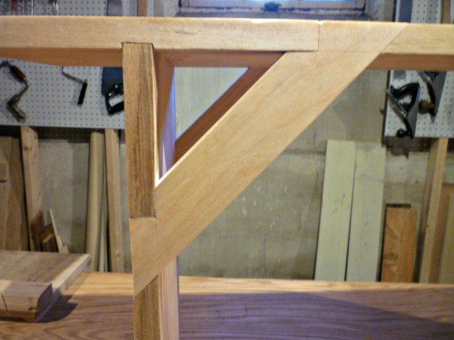 Corner braces, joined with sort-of dovetails, provide strength.