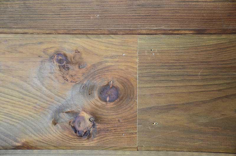 wood planking nail holes