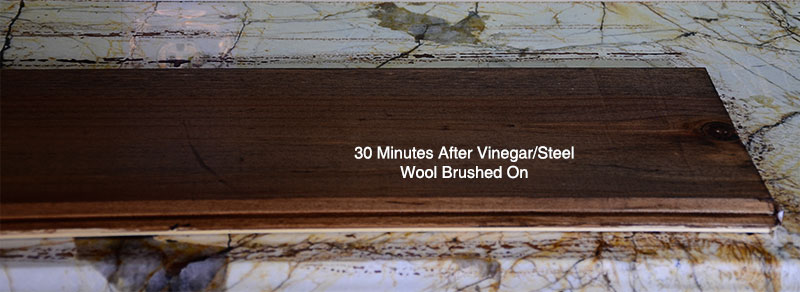 vinegar and steel wool weathered wood after 30 minutes