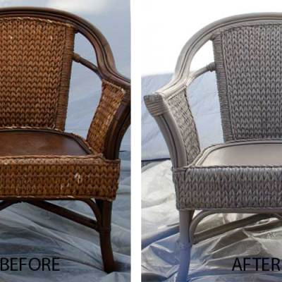 Wicker chairs before and after painting