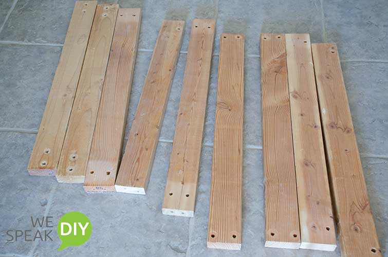 Scrap lumber 2X4s to build simple outdoor console table