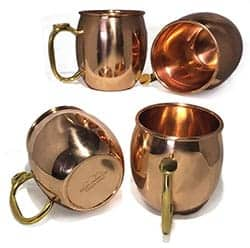 Set of 4 Copper Moscow Mule Mugs with Thumb Rest