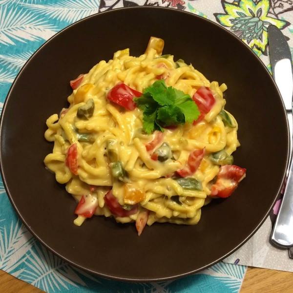 (pasta) Spatzli met kaassaus
