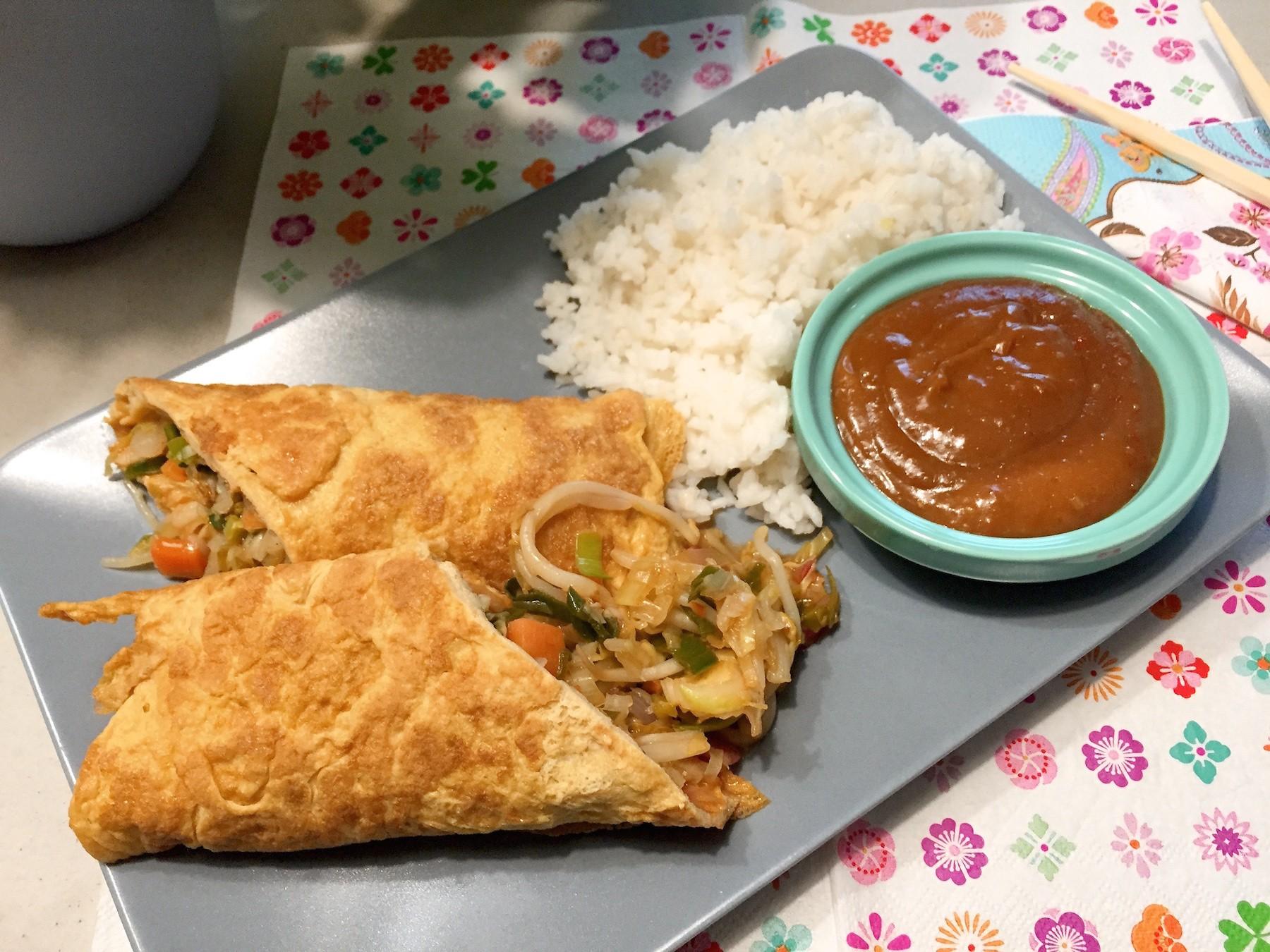 Oosterse Omeletwrap met rijst