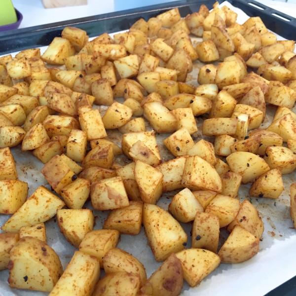 geroosterde aardappelblokjes