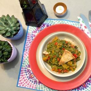 voorbeeld warme salade met doperwten