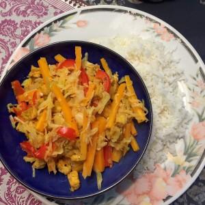thaise gele curry met witte kool