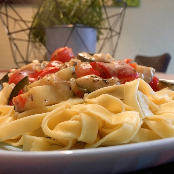 Tagliatelle met mediterraanse groenten
