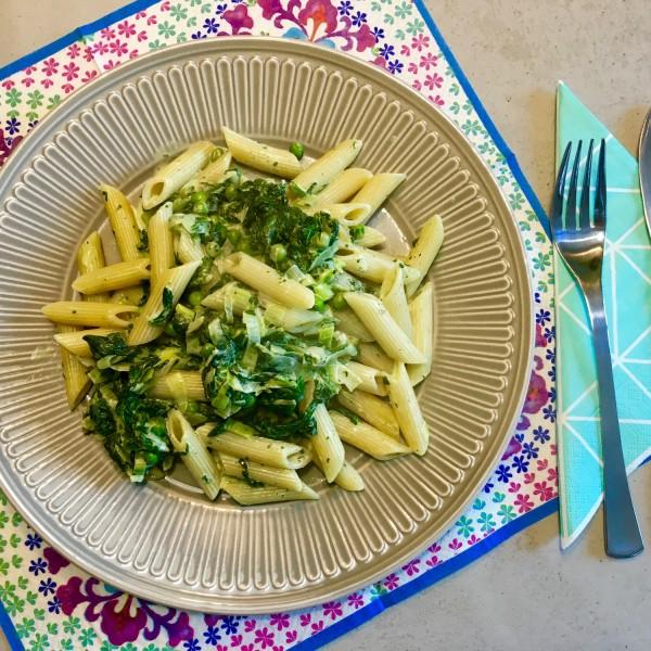 Snelle Frisse pasta met spinazie