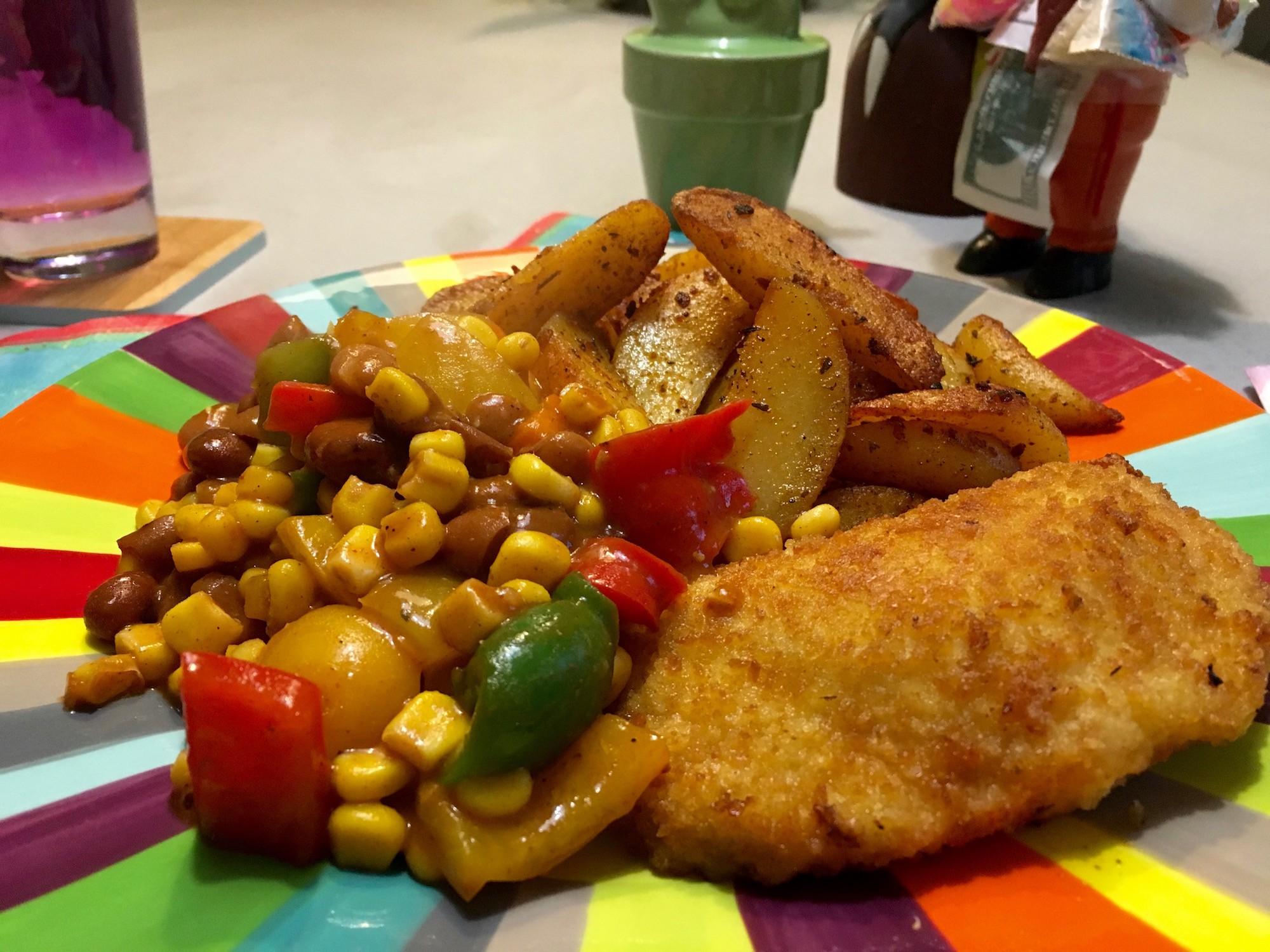 Cajun aardappelpartjes met kaasburger