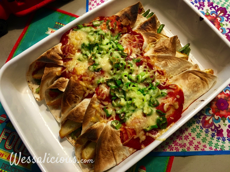 uit de oven Enchilada's met sperziebonen