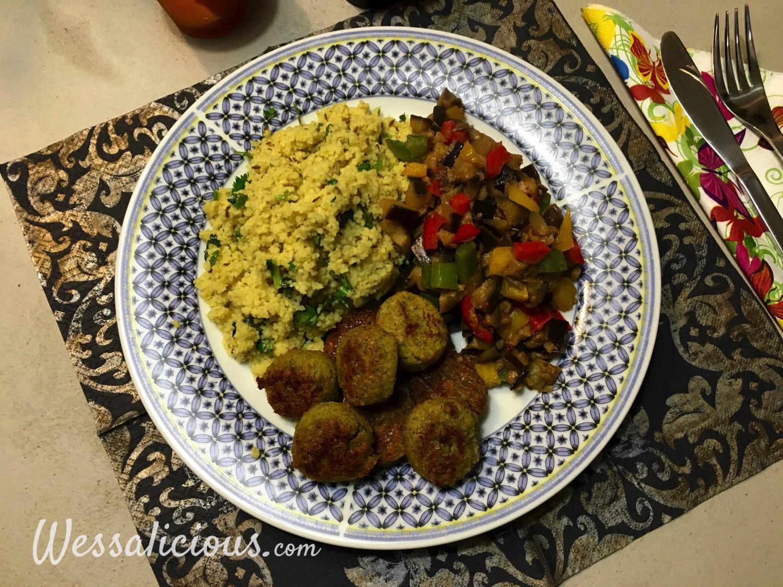 lekkere Koriander-komijn couscous met falafel